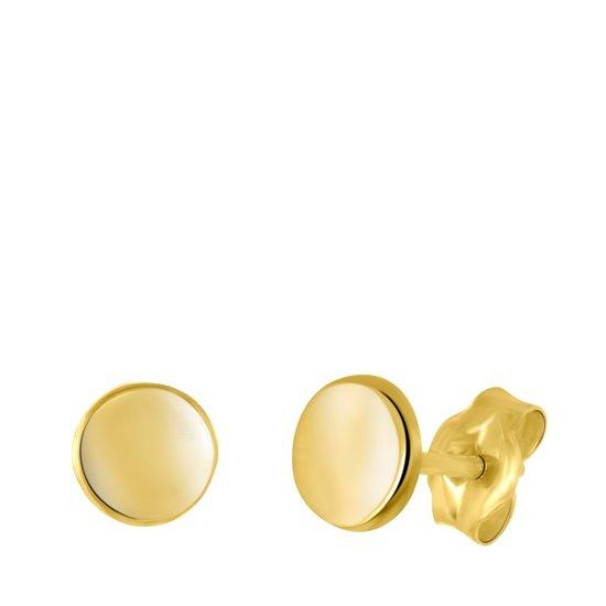 Lucardi - 14 Karaat geelgouden oorbellen rond 4mm