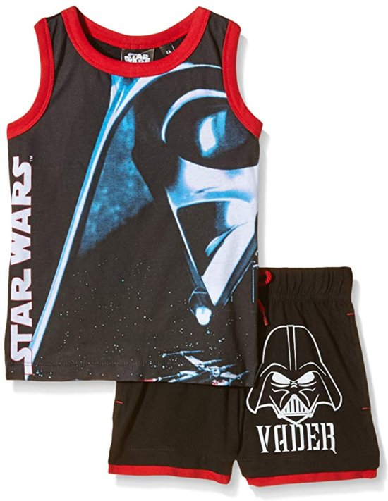 """Disney Star Wars - 2-delige Singlet-set - Model """"Menacing Darth Vader"""" - Zwart & Rood - 104 cm - 4 jaar"""
