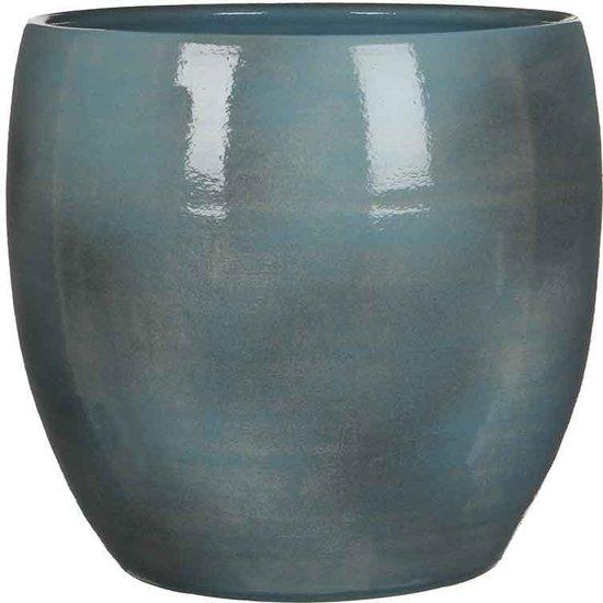 Mica Decorations - lester ronde pot blauw - maat in cm: 31 x 33