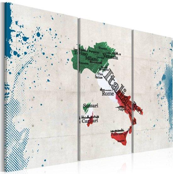 Schilderij - Kaart van Italië, Multi-gekleurd, 2 Maten, 3luik