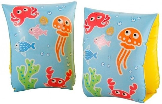 Blauw/gele zwembandjes met vissen print 3-6 jaar- Zwemvleugels 18-30 kg - Zwem armbanden - Veilig zwemmen
