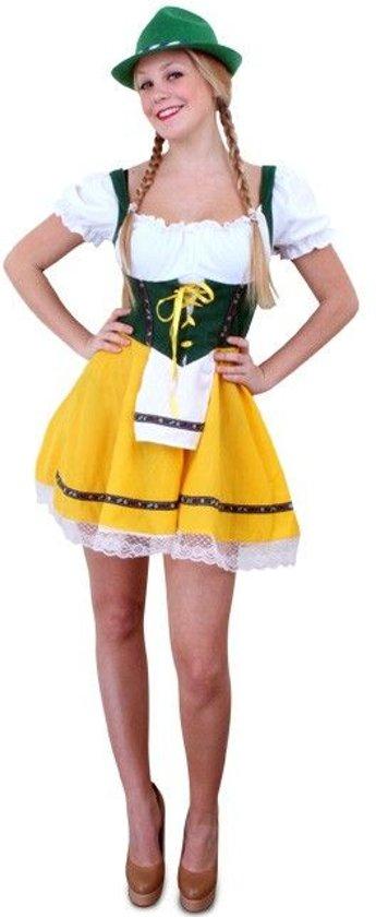 0fc7599a1d12f0 Tiroler jurk kort geel groen L-XL