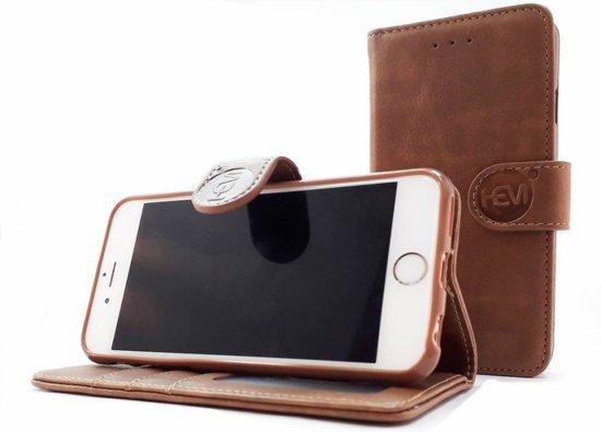 Apple iPhone XS Max - Bronzed Brown Leren Portemonnee Hoesje - Lederen Wallet Case TPU meegekleurde binnenkant- Book Case - Flip Cover - Boek - 360º beschermend Telefoonhoesje
