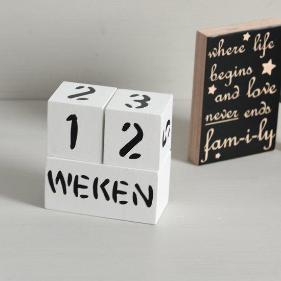 Houten Mijlpaalblokken Wit - Zwarte Letters