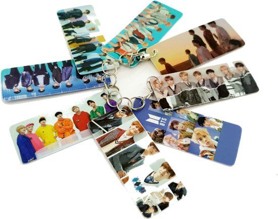 BTS Merchandise- BTS sleutelhanger 8 kleine foto's - BTS Boyband- Kpop Accessoire