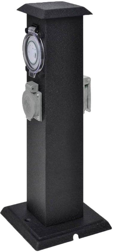 Buitenstopcontact op zuil met tijdschakelaar (zwart)
