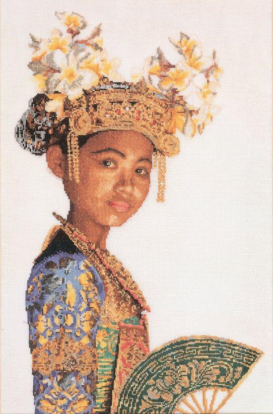 Thea Gouverneur Borduurpakket 947 Indonesische Danseres - Linnen stof