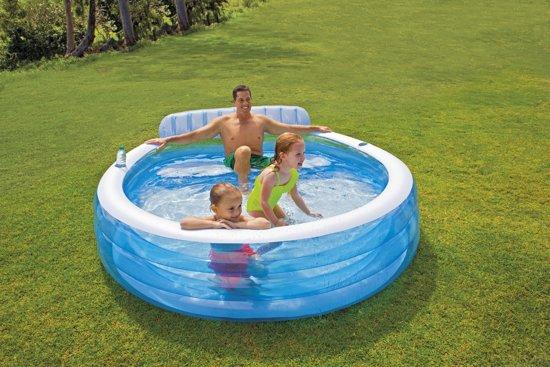 Opblaasbaar Familie Lounge Zwembad met Bank (224x216x76cm) (Intex)Intex