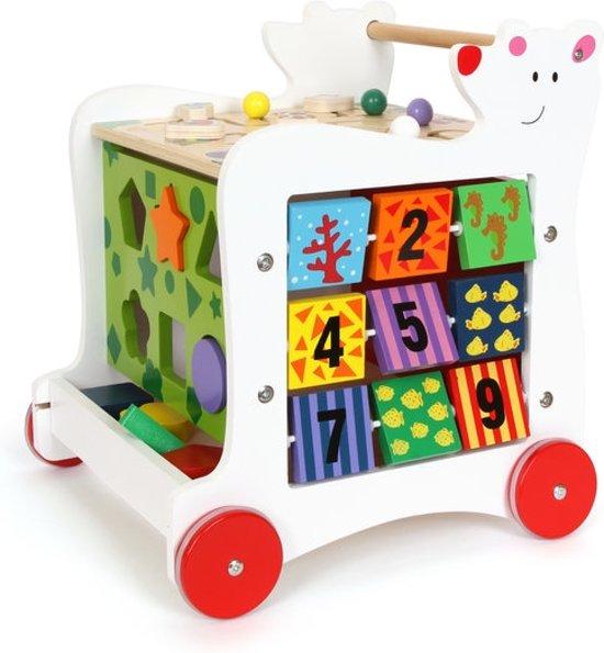 Loopwagen hout met activiteiten (baby walker) - Grote beer - Houten speelgoed vanaf 1 jaar - Vormen, kleuren en letters leren herkennen