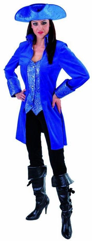 Musketier Kostuum | Mantel En Vest Gave Gravin Blauw Vrouw | Medium | Carnaval kostuum | Verkleedkleding