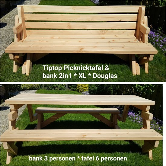 Picknicktafel & tuinbank 2in1 * Douglas (inklaptafel / uitklapbank) XL