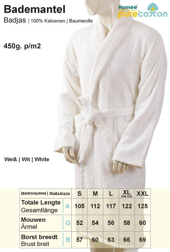 Homéé - Hotel Badjas - shawlkraag - 400g. p/m2 badstof 100% Katoenen |One seize - XL |  Wit (Optisch gebleekt)