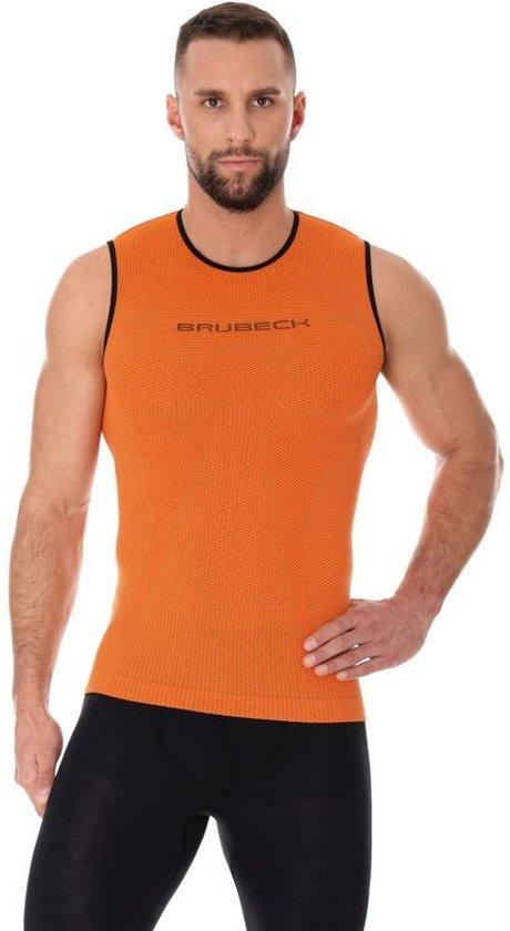 Brubeck | 3D PRO Heren Seamless Hardloopshirt - Sportshirt - Mouwloos - Oranje - S