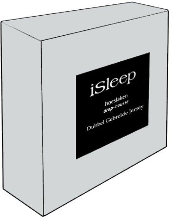 iSleep Dubbel Jersey Hoeslaken - Litsjumeaux - 160/180x200 cm - Licht Grijs