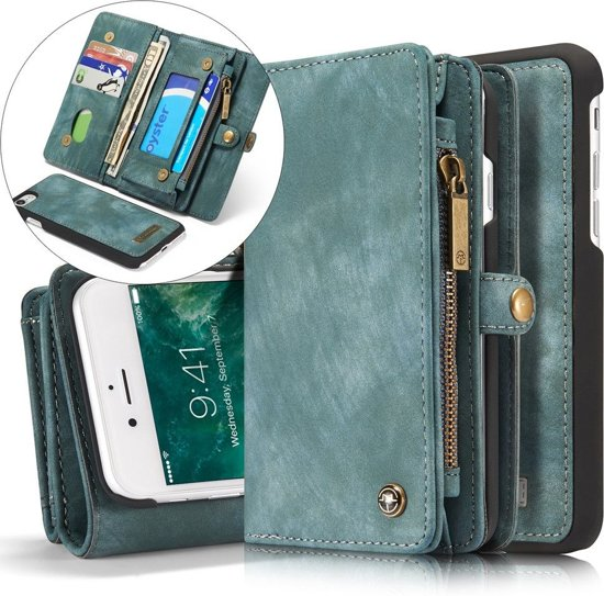 CASEME Apple iphone 7 8 Vintage Portemonnee Hoesje Blauw