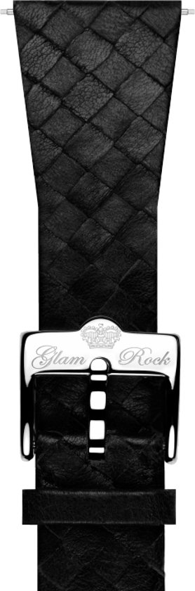 GS1084 - Glam Rock horlogeband braided leer zwart