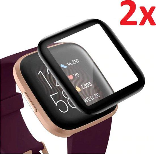 Full Cover 3D Edge Screen Protector Cover Case Bumper Hoes Voor Fitbit Versa 2 - Beschermkap Beschermhoes Screenprotector - Set Van 2 Stuks