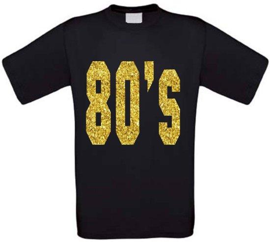 The 80's t-shirt glitter goud maat M zwart