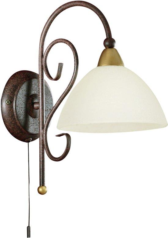 EGLO Medici - Wandlamp - 1 Lichts - Antiek-Bruin, Goud - Wit
