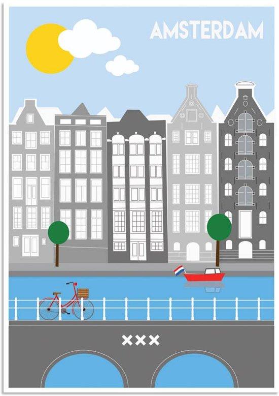 Poster Amsterdam grachten DesignClaud - Kleurrijk - A2 poster