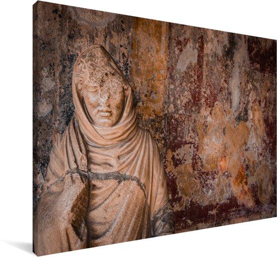 Marmeren beeld van een vrouw in Pompeï Canvas 180x120 cm - Foto print op Canvas schilderij (Wanddecoratie woonkamer / slaapkamer) XXL / Groot formaat!