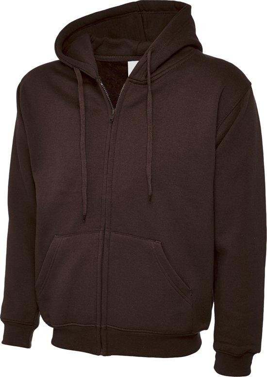 Uneek UC504 Sweater met rits Classic Hooded Zwart L
