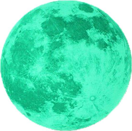 Glow in The Dark Maan Sticker 20cm - Zelfklevende Kinderkamer Sterrenhemel Muursticker