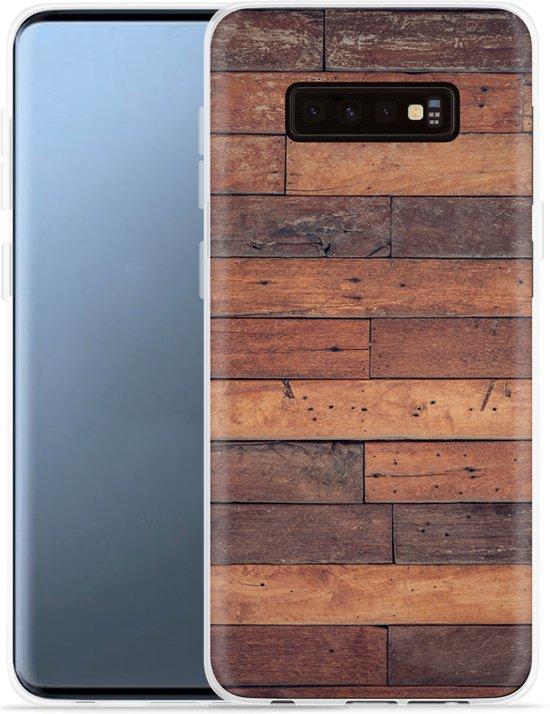 Galaxy S10 Hoesje Houten planken