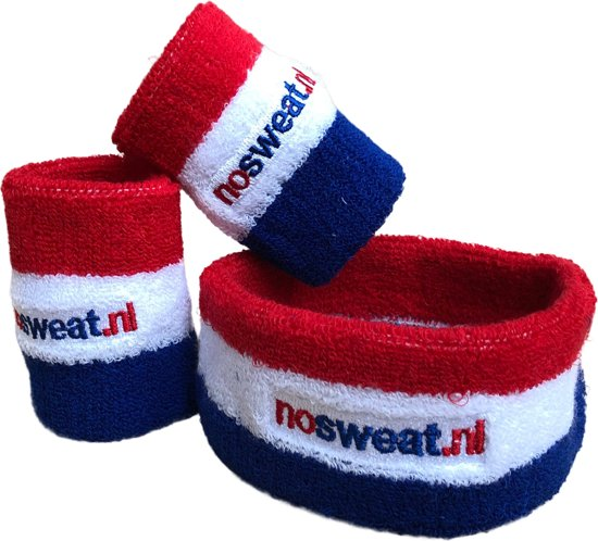 No Sweat - set zweetbandjes rood-wit-blauw : 1x hoofdband en 2x polsbandjes