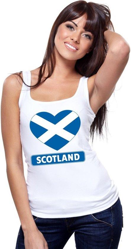 Schotland hart vlag singlet shirt/ tanktop wit dames L