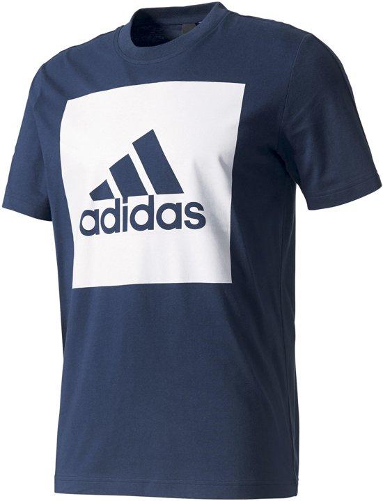 adidas Essentials Box Logo T shirt Heren Sportshirt casual Maat S Mannen blauwwit