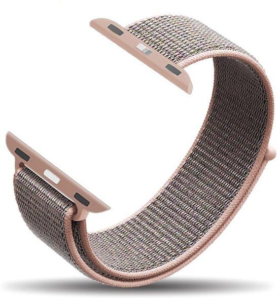 Nylon Woven Loop bandje Lichtroze geschikt voor Apple Watch 38mm