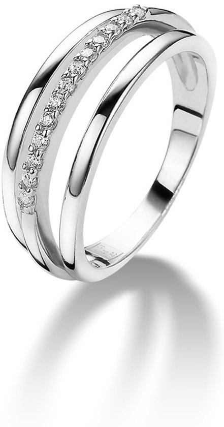 Twice As Nice ring in zilver, 3 rijen, zirkonia Wit 54