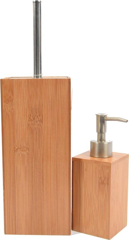 Bamboe toiletborstel met zeepdispenser