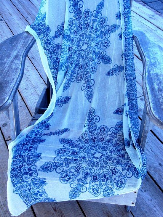 2 Love it Porselein Style - Sjaal - Viscose - Blauw - Wit