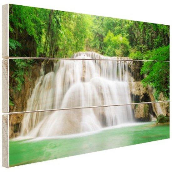 Huaymaekamin waterval Hout 60x40 cm - Foto print op Hout (Wanddecoratie)