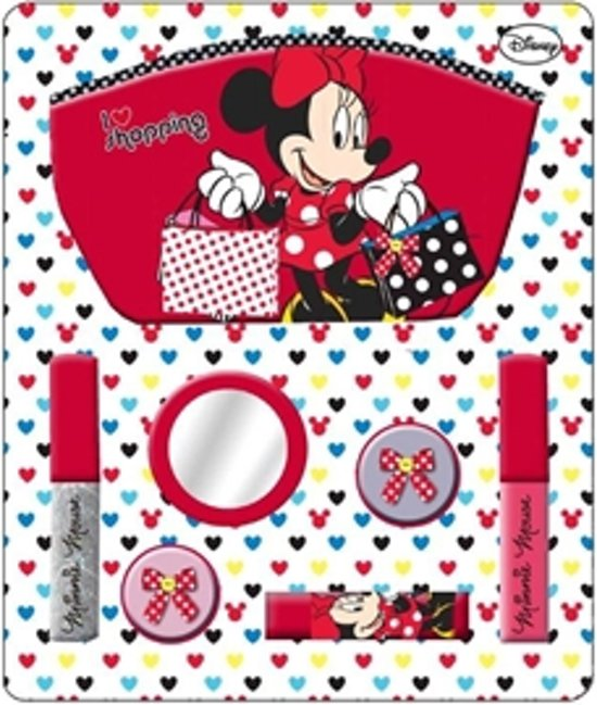 Minnie Mouse I Love Shopping - Make-Up Etui - Rood/Wit