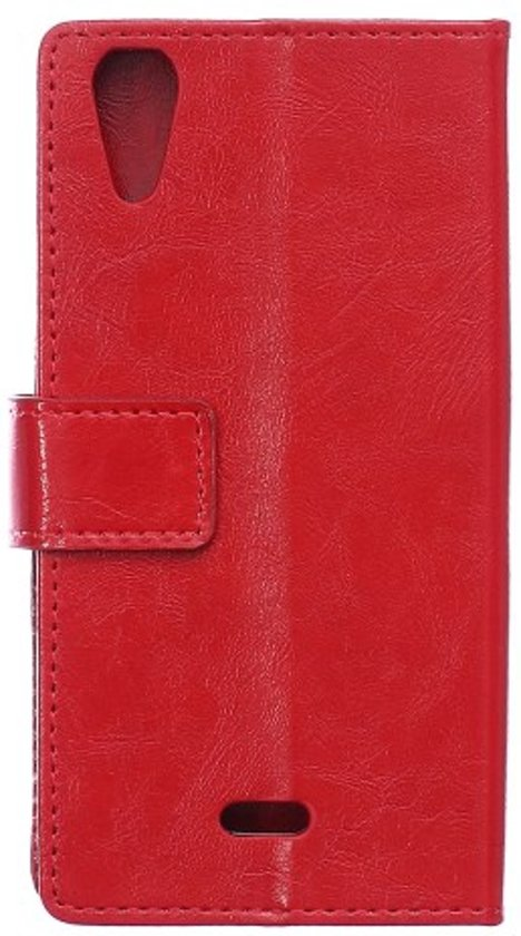 Cyclone Cover wallet hoesje Wiko Rainbow Jam 4G rood