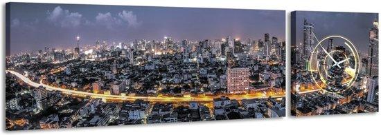 Bangkok - Canvas Schilderij Klok Panorama
