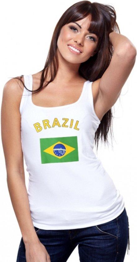 Witte dames tanktop met vlag van Brazillie S