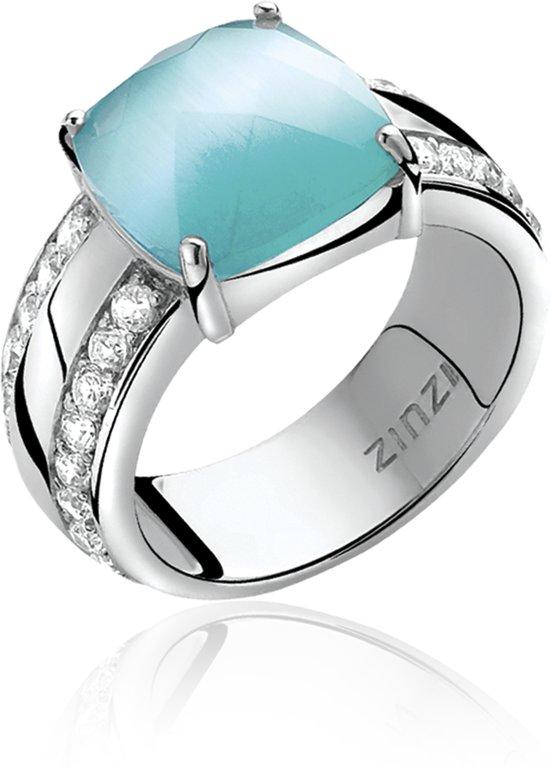 Zinzi - Zilveren Ring - Turquoise Cateye - Zirkonia - Maat 54 (ZIR623T54)