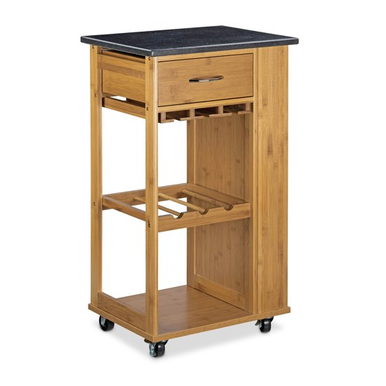 relaxdays serveerwagen bamboe marmer. Black Bedroom Furniture Sets. Home Design Ideas
