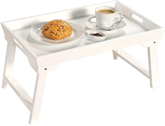 FSC® MDF Elegante inklapbare bedtafel met dienblad | Houten Bed tafel | Witte tafel | beddienblad | Ontbijt dienblad | Ontbijt op Bed | Afm. 52 x 32 x 27 Cm. | Kleur: WIT