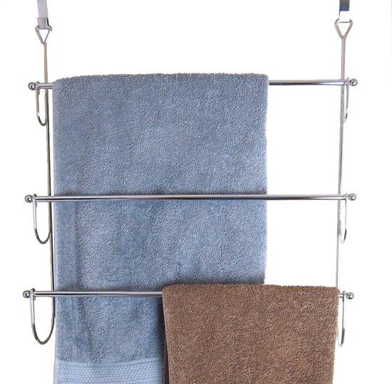 Vannons - Handdoekrek - Handdoekenrek voor over de deur - Staal - 3 Handdoeken - Zilver