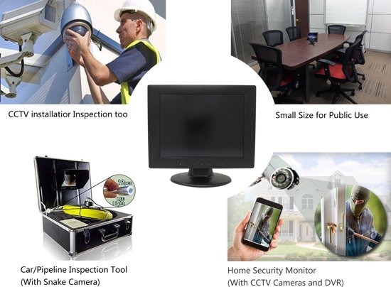 10 inch TFT-LCD Monitor - VGA, HDMI, BNC, USB + AV-ingang, 1024x768 resolutie