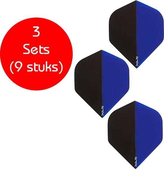 Dragon darts - 3 sets (9 stuks) - 2-Tone Zwart-blauw - darts flights - extra stevige - dart flights