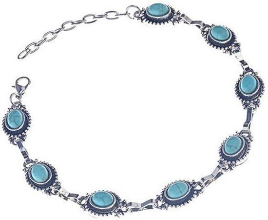 Enkelbandje oud zilverkleur met turquoise medaillons