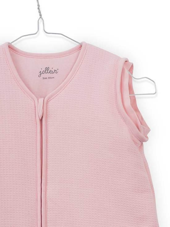 Jollein Tiny waffle Padded Babyslaapzak met afritsbare mouw - 90cm soft pink