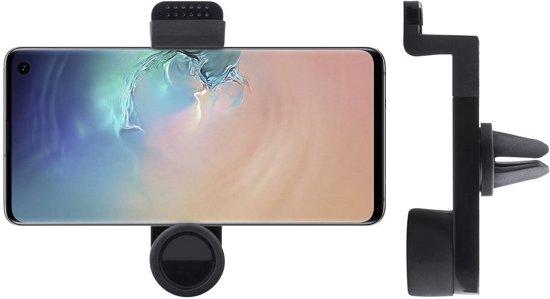 Shop4 - Samsung Galaxy S10 Autohouder Verstelbare Ventilatierooster Houder Rond Zwart