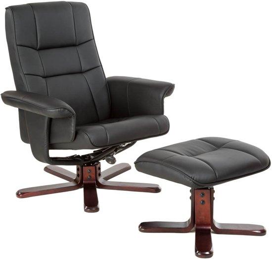 TV fauteuil relax stoel relaxstoel met kruk zwart 401438
